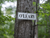 A sign indicates the location of the cottage belonging to Kevin and Linda O'Leary on Lake Joseph in Ontario.