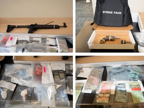 Ridge Meadows RCMP seized two guns, one described as a semi-automatic rifle and the other a revolver handgun, as well several rounds of ammunition, a bullet-proof vest, suspected illicit drugs believed to be fentanyl, cocaine and crystal meth and more than $1,100 in cash.