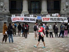 A demonstration in support of nursing student Mona Wang, who alleges excessive force was used by an RCMP officer during a wellness check in Kelowna.