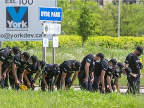 11 London police officers perform a search shoulder to shoulder along the southbound lanes of Hyde Park Road looking for evidence after a quadruple fatality at South Carriage Road and Hyde Park on Sunday evening in London, Ont.