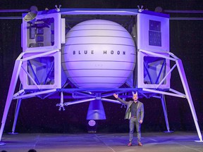 Jeff Bezos, the founder of Amazon and Blue Origin, introduces Blue Origin's lunar lander in May 2019.
