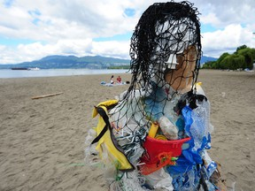 Sculptures made entirely from plastics collected during the Great Canadian Shoreline Cleanup at Kits Beach in Vancouver earlier this week.