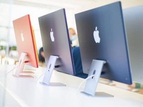 Apple Inc. iMac computers on display at an Apple store in Palo Alto, California.