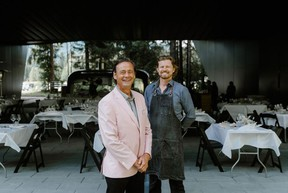 Curtis Collins, director and chief curator of the Audain Art Museum, and Eric Griffith, owner of the Alta Bistro.