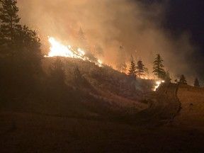 The Sparks Lake fire, in the Kamloops fire centre, is the largest in the province at 402 square kilometres, but people are not at risk in the rural area. © BCWS