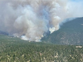 Aerial view of the Sparks Lake wildfire on July 2, 2021.