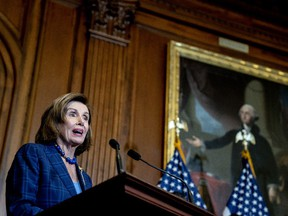U.S. House Speaker Nancy Pelosi, a Democrat from California, speaks during a bill enrollment ceremony at the U.S. Capitol in Washington, D.C., U.S., on Friday.