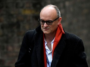 Dominic Cummings, then-top adviser to British Prime Minister Boris Johnson, arrives at 10 Downing Street in London on Nov. 13, 2020.