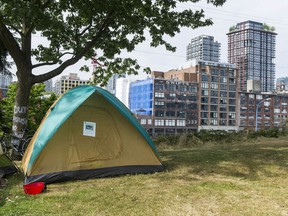 A tent erected at CRAB park in Vancouver on Friday.