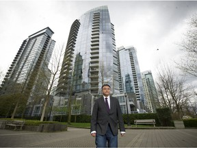 """""""The first one on the beach is the one who gets shot. Now the beach is all clear,"""" says Simon Fraser University City Program director Andy Yan, seen in Coal Harbour."""