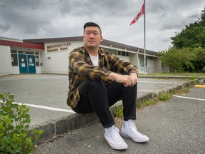 Gregory Jung in front of Brentwood Park Elementary in Burnaby. A new study released this week shows four out of five teachers reported a decline in their mental health this past school year, one fraught with COVID-19 concerns and adjustments to online learning.