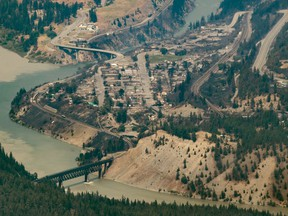Structures destroyed by wildfire are seen in Lytton on July 1, 2021.