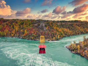 The Whirlpool Aero Car, a antique cable car suspended 60 meters above the Niagara River is a thrilling Niagara Falls attraction.
