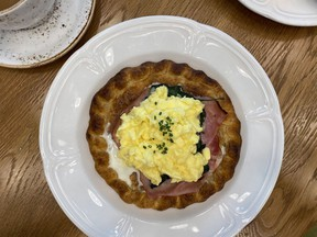 The Breakfast Galette at Honey Salt: A savoury breakfast option, offering a break from the more routine brunch spot selections of Eggs Benedict or pancakes.