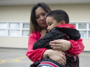 Kaye Banez and her son Lazarus on Aug. 20, 2020. The Richmond mom has decided to home-school her two children this year as COVID-19 case counts once again climb.