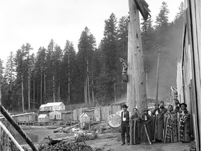 A Kwakiutl ceremonial dance group, Quatsino, between 1895 and 1898. From the Knowledge Network series British Columbia: An Untold History.