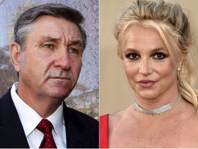 """This combination photo shows Jamie Spears, father of singer Britney Spears, leaving the Stanley Mosk Courthouse in Los Angeles on Oct. 24, 2012, left, and singer Britney Spears at the Los Angeles premiere of """"Once Upon a Time in Hollywood"""" on July 22, 2019."""
