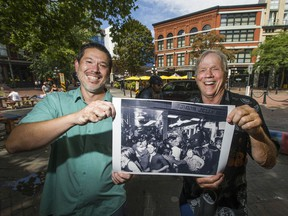 Frank Barazzuol and his then baby son son Toby Barazzuol were captured in a news photograph by The Vancouver Sun photographer Glenn Baglo during the Gastown Riot on August 7, 1970. The pair are pictured where the original shot was taken.