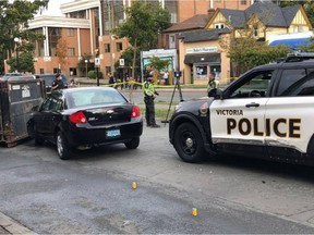 A man has been arrested after a Victoria police officer was struck by a vehicle in the 900-block of Pandora Avenue Monday morning.