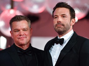 """Matt Damon, left, and Ben Affleck arrive for the screening of the film """"The Last Duel"""" presented out of competition on Sept. 10, 2021 during the 78th Venice Film Festival at Venice Lido."""