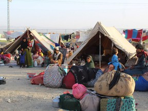 Afghan refugees at a makeshift camp near in Chaman, Pakistan at the border with Afghanistan, on Aug. 31.