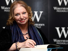 """Author Hilary Mantel attends a book signing for her new novel """"The Mirror and the Light"""" at a book store in London, March 4, 2020."""