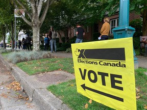 Voters line-up around the block at Holy Trinity Ukranian Orthodox Cathedral in East Vancouver.