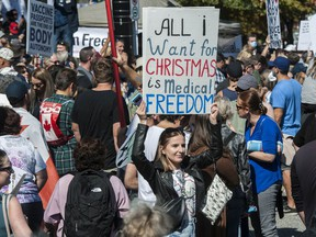 Several thousand anti-vaccine protesters converge on Vancouver General Hospital as part of the World Wide Walkout for Health Freedom earlier this month.