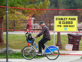 Fencing erected in Stanley Park to restrict access due to the coyote threat. The restrictions were lifted by the Vancouver Parks Board on Tuesday.