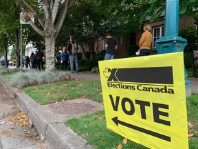 Voters line-up around the block at Holy Trinity Ukrainian Orthodox Cathedral and Auditorium at 154 East 10th Avenue in Vancouver on September 20, 2021.