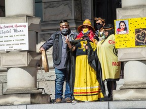 Martha Martin, whose daughter Chantel was shot and killed by police in New Brunswick last year, speaks at the B.C. legislature in Victoria on Saturday, Sept. 18, 2021.