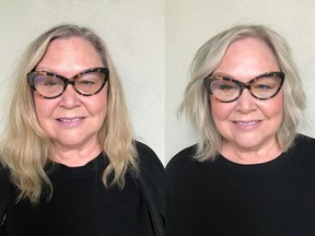 Laurel Wild is a 63-year-old project manager who is transforming her life for retirement — body, mind and beauty. On the left is Laurel before her makeover by Nadia Albano, on the right is her after.