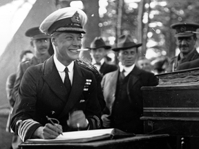 The Duke of Windsor, then Edward, Prince of Wales, smiles while performing his official duties in Halifax during his 1919 royal tour. A letter up for auction reveals he was less happy with the tour than he appeared.