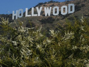 In this file photo taken on April 26, 2010 view of the Hollywood sign after California Governor Arnold Schwarzenegger made the announcement that sufficient money had been raised to purchase and protect the land around the historic Hollywood sign in Hollywood .