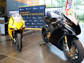 Two versions of Damon Motors flagship HyperSport all-electric motorcycle, that will be manufactured in Surrey.