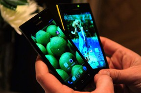 Smartphones on display at the annual Consumer Electronics Show in Las Vegas on Jan.9, 2012. (FREDERIC J. BROWN/AFP/Getty Images)
