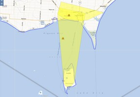 The Hydro One storm center map showing the power outage in Leamington on Nov. 2, 2012. (HANDOUT/The Windsor Star)