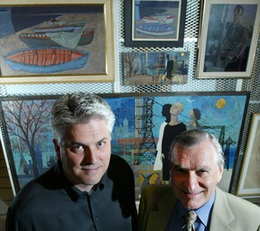 File photo: Glen Cumming, Director of AGW, and Stephen Marshall, President of AGW, stand in front of works by Ken Saltmarche in 2003. (Windsor Star files)