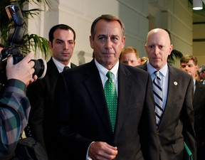 """House Speaker John Boehner (R-OH) and the U.S. Republicans """"lurch from one manufactured crisis to another,"""" according to Bill Gibson, the area director for Unifor in Kitchener. (AFP/Getty Images files)"""