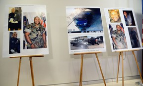 Pictures provided by Los Angeles Police Department of alleged suspect Christopher Dorner are displayed during briefing on February 7, 2013 in Los Angeles, California. A former Los Angeles police officer Christopher Jordan Dorner, 33, who had allegedly warned he would target law enforcement, is suspected three police officers killing one. Dorner is also a suspect in two weekend killings of Monica Quan and Keith Lawrence who were found dead in a car inside a parking structure. (Photo by Kevork Djansezian/Getty Images)