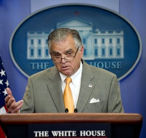 """US Transportation Secretary Ray LaHood speaks during the White House Daily Briefing in Washington, DC, in this July 26, 2011 photo.  Secretary Ray LaHood said on January 29, 2013 that he planned to resign, marking the latest departure from President Barack Obama's Cabinet. """"I have let President Obama know that I will not serve a second term as secretary of the US Department of Transportation,"""" LaHood said in a statement. AFP PHOTO/Jim WATSON"""