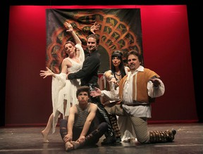 Theatre Alive is staging the musical Pippin. Cast members include Debbie Dufour, left, Corey Mariuz, Tim Bradley (seated), Melissa Danese and Joe Cardinal. (DAN JANISSE / The Windsor Star)