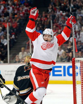 Detroit's Daniel Cleary, right, celebrates his goal as Anaheim goalie Jonas Hiller, rear, during NHL action Sunday, March 24, 2013, in Anaheim, Calif. (AP Photo/Mark J. Terrill)
