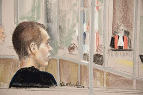 Alleged killer Luka Rocco Magnotta is seen in court in a artist drawing Wednesday, January 9, 2013 in Montreal. Magnotta, accused of killing and dismembering a Chinese student, was treated for paranoid schizophrenia, though his psychiatrist said he didn't always take his medication. THE CANADIAN PRESS/Mike McLaughlin