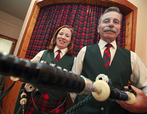 Barbara Dewar and George Kay of The Scottish Society of Windsor Pipe Band are photographed during Tartan Day celebrations at the Scottish Club of Windsor Saturday, April 13, 2013. (KRISTIE PEARCE//The Windsor Star)