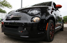 The Fiat 500e, an electric vehicle not yet available in Canada, is pictured at the Electric Vehicle Event at the Renewable Energy Technology Centre, Saturday, June 8, 2013. (DAX MELMER/The Windsor Star)