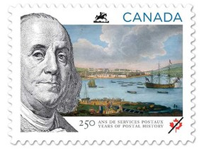 Benjamin Franklin, then the Philadelphia-based postmaster for Britain's colonies in North America. The stamp features a portrait of Franklin and a vintage scene of Quebec City. (Canada Post/Handout)