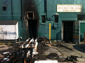 The rear entrance of The Pastry Table bakery is photographed on Sunday, August 25, 2013. A blaze broke out at the bakery early Sunday morning. (DAX MELMER/ The Windsor Star)