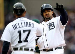 Detroit's Prince Fielder, right, reacts after hitting a single in the fourth inning against the Oakland Athletics during Game 3 of the American League Division Series at Comerica Park Monday. (Photo by Leon Halip/Getty Images)