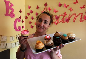 Sonia Klue with a sample of her elaborate cupcakes at Klueless Cupcakes on Wyandotte Street East. (NICK BRANCACCIO / The Windsor Star)